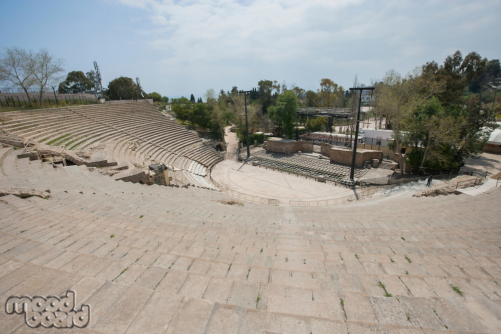 High angle view of roman amphitheater; Tunis; Tunisia