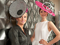 11/07/2012. .Edel Ramberg milliner and Catwalk model Kamile Jucyte, wearing a hat by the milliner herself during the 2012 Galway Races Summer Festival, official launch  in the g Hotel, Galway. The seven day festival runs from Monday 30th July to Sunday 5th August. Photo:Andrew Downes. (first use repro free).
