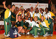 CAPE TOWN, SOUTH AFRICA - 25 October 2008, South African captain Liezel Wium hold the series trophy aloft during the 3rd Spar test match between South Africa and Barbados held at The Good Hope Centre in Cape Town, South Africa..Photo by: sportzpics.net