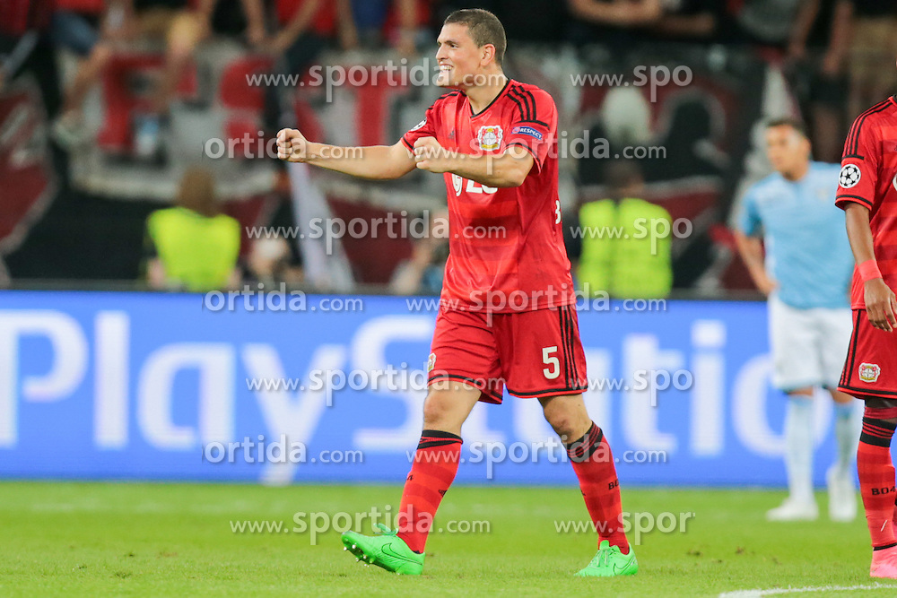 26.08.2015, BayArena, Leverkusen, GER, UEFA CL, Bayer 04 Leverkusen vs Lazio Rom, Playoff, R&uuml;ckspiel, im Bild Kyriakos Papadopoulos (#5, Bayer 04 Leverkusen) jubelt nach dem Schlusspfiff // during UEFA Champions League Playoff 2nd Leg match between Bayer 04 Leverkusen and SS Lazio at the BayArena in Leverkusen, Germany on 2015/08/26. EXPA Pictures &copy; 2015, PhotoCredit: EXPA/ Eibner-Pressefoto/ Deutzmann<br /> <br /> *****ATTENTION - OUT of GER*****