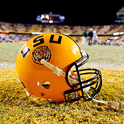November 17, 2012; Baton Rouge, LA, USA;  A LSU Tigers helmet is sits on the field following a game against the Ole Miss Rebels at Tiger Stadium. LSU defeated Ole Miss 41-35. Mandatory Credit: Derick E. Hingle-US PRESSWIRE