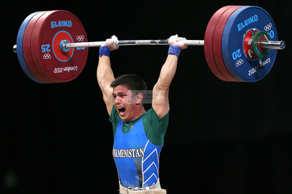 Umurbek Bazarbayev of Turkmenistan attempts to lift 167 kg during the mens 62kg weightlifting event during day 3 of the London Olympic Games London, 30 Jul 2012..(Jed Jacobsohn/for The New York Times)....