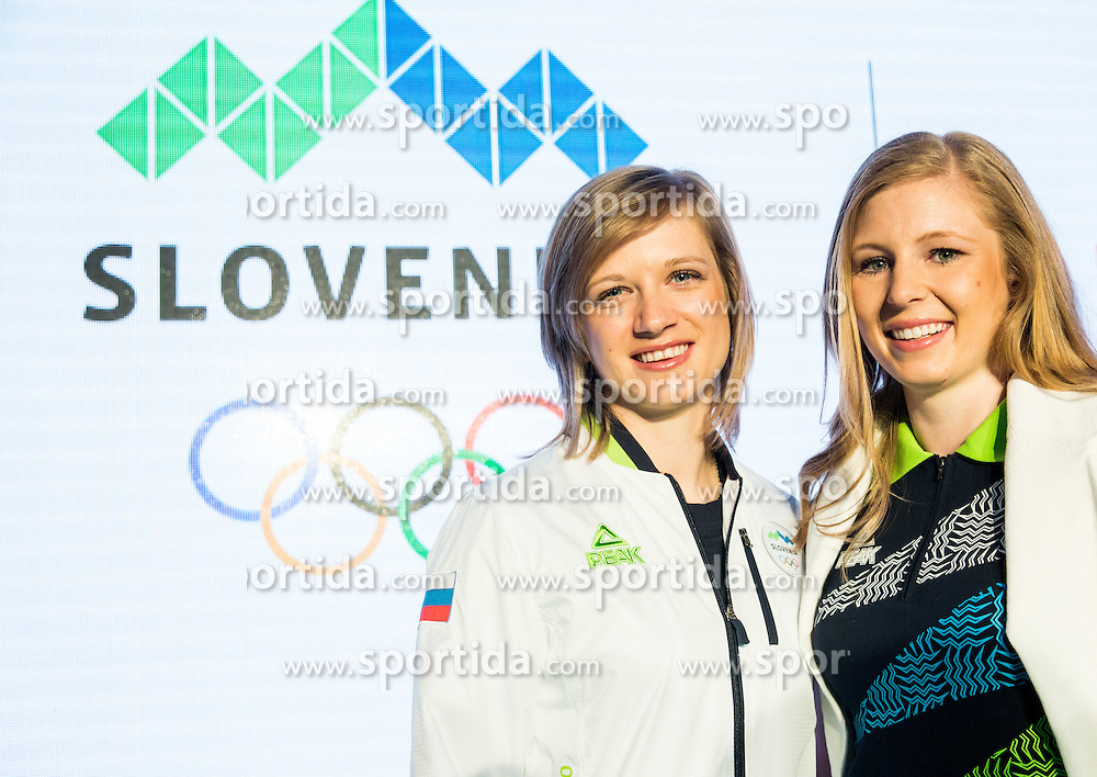 Tina Sutej and Maja Mihalinec during official presentation of the Designer wear for Slovenian Athletes at Rio Summer Olympic Games 2016, on April 15, 2016 in Hotel Lev, Ljubljana, Slovenia. Photo by Vid Ponikvar / Sportida