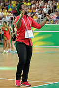 8th April 2018, Gold Coast, Gold Coast Convention and Exhibition Centre, Australia; Commonwealth Games day 4; Netball Malawi versus New Zealand;  Malawis coach Whyte Mulilima reacts to the crowd after Malawi defeated New Zealand 57-53