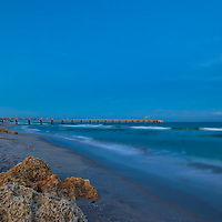 South Florida sunset photography of Deerfield Beach Fishing Pier and beach. This Florida fishing piers photography image is available as museum quality photography prints, canvas prints, acrylic prints or metal prints. Fine art prints may be framed and matted to the individual liking and decorating needs:<br />