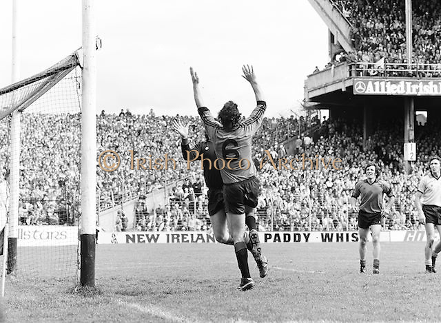 The Kerry goalie and a Dublin player jump for the ball near the Kerry goal during the Kerry v Dublin All Ireland Senior Gaelic Football Final in Croke Park on the 24th of September 1978. Kerry 5-11 Dublin 0-9.