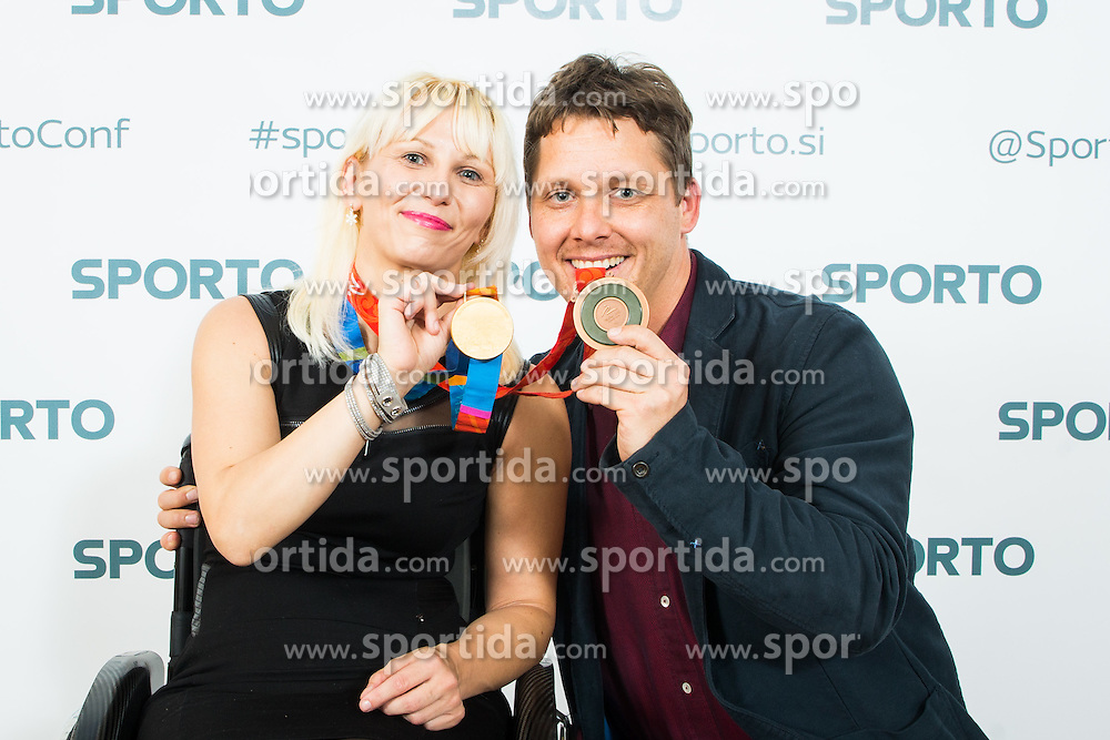Mateja Pintar (paraolimpic table tennis player) and Vid Ponikvar (photographer) during Sporto Dinner with Sporto Awards 2015 Ceremony at Sports marketing and sponsorship conference Sporto 2015, on November 19, 2015 in Hotel Slovenija, Congress centre, Portoroz / Portorose, Slovenia. Photo by Ziga Zupan / Sportida