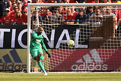 July 28, 2018 - Ann Arbor, MI, U.S. - ANN ARBOR, MI - JULY 28: Manchester United Keeper Lee Grant (13) sends the ball up the pitch in the first half of the ICC soccer match between Manchester United FC and Liverpool FC on July 28, 2018 at Michigan Stadium in Ann Arbor, MI (Photo by Allan Dranberg/Icon Sportswire) (Credit Image: © Allan Dranberg/Icon SMI via ZUMA Press)