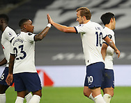 Harry Kane of Tottenham (r) celebrates with Steven Bergwijn of Tottenham during the Premier League match at the Tottenham Hotspur Stadium, London. Picture date: 23rd June 2020. Picture credit should read: David Klein/Sportimage