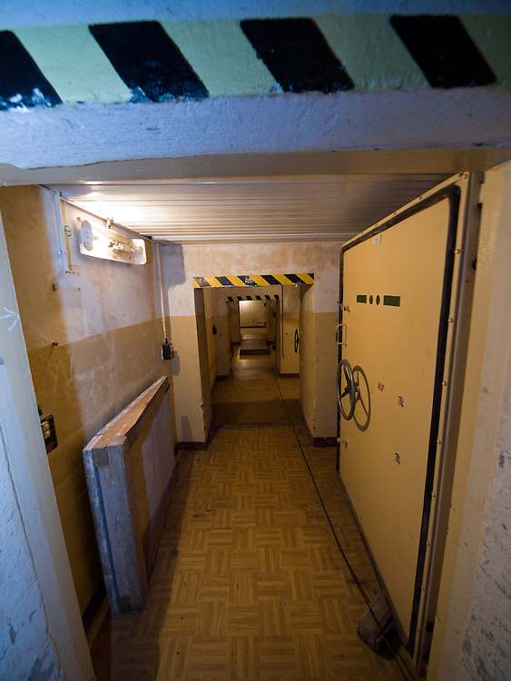 Corridors with a few tons heavy doors out of steel inside the Honecker Bunker in Prenden.