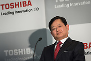 Newly appointed Toshiba Corp. chief executive officer (CEO) and chairman Nobuaki Kurumatani speaks during a news conference in Tokyo, Japan, 14 February 2018. Toshiba Corp. announced that Nobuaki Kurumatani, former executive of Sumitomo Mitsui Financial Group, will become chief executive officer (CEO) and chairman of Toshiba Corp. Satoshi Tsunakawa, outgoing President and CEO of Toshiba Corp. will become chief operating officer. The executives change will take effect on 01 April 2018. 14/02/2018-Tokyo, JAPAN