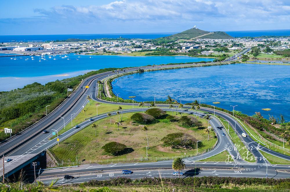 H-3 freeway and entrance to Kaneohe Marine Base Hawaii, Oahu, Hawaii