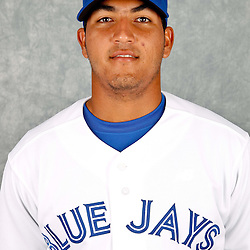 March 2, 2012; Dunedin, FL, USA; Toronto Blue Jays catcher Carlos Perez (73) poses for a portrait during photo day at Florida Auto Exchange Stadium.  Mandatory Credit: Derick E. Hingle-US PRESSWIRE