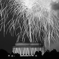 Fireworks burst over the Lincoln Memorial during Fourth of July celebrations in Washington, Saturday July 4, 2015. CREDIT: J. David Ake