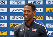 Ryan Fontenot (USA) during a news conference prior to the IAAF World Relays, Friday, May 10, 2019,  in Yokohama, Japan.