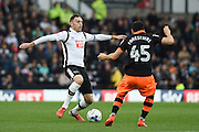 Derby County defender Richard Keogh (6) battles for possession with Sheffield Wednesday forward Fernando Forestieri (45) during the EFL Sky Bet Championship match between Derby County and Sheffield Wednesday at the iPro Stadium, Derby, England on 29 October 2016. Photo by Jon Hobley.