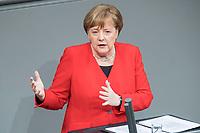 21 MAR 2019, BERLIN/GERMANY:<br /> Angela Merkel, CDU Bundeskanzlerin, waehrend einer  Regierungserklaerung zum Europaeischen Rat, Plenum, Deutscher Bundestag<br /> IMAGE: 20190321-01-040