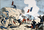 Paris Commune 26 March-28 May 1871.  The Bloody Week:  Fall of the batteries at the Porte Maillot, 22 May 1871 to the Versailles, regular Government forces.   Coloured lithograph.