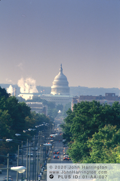 An aerial view of the US Capitol building in Washington DC.