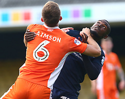 September 30, 2017 - Southend, England, United Kingdom - Blackpool's Will Aimson and Theo Robinson of Southend United.during Sky Bet League one match between Southend United against Blackpool at  Roots Hall,  Southend on Sea England on 30 Sept  2017  (Credit Image: © Kieran Galvin/NurPhoto via ZUMA Press)