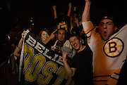 June 15, 2011, Boston, MA - Scenes from outside the TD Garden of fans celebrating the Stanley Cup victory of the Boston Bruins. Photo by Lathan Goumas.