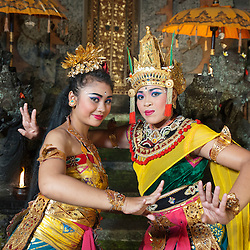 Sita Princess and Prince Rama characters of the Taman Kaja troup  posing after a show in Pura Dalem, Ubud, Bali, Indonesia