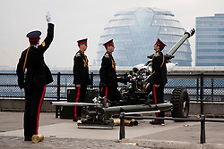 © licensed to London News Pictures. LONDON, UK  02/06/11. A gun crew of the Honourable Artillery Company (HAC) prepares to fire part of a 62 gun salute at the Tower of London to mark the anniversary of the Queen's ascension to the throne in 1953 . Please see special instructions for usage rates. Photo credit should read Matt Cetti-Roberts/LNP