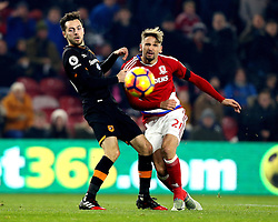 Gaston Ramirez of Middlesbrough shoots at goal under pressure from Ryan Mason of Hull City - Mandatory by-line: Robbie Stephenson/JMP - 05/12/2016 - FOOTBALL - Riverside Stadium - Middlesbrough, England - Middlesbrough v Hull City - Premier League