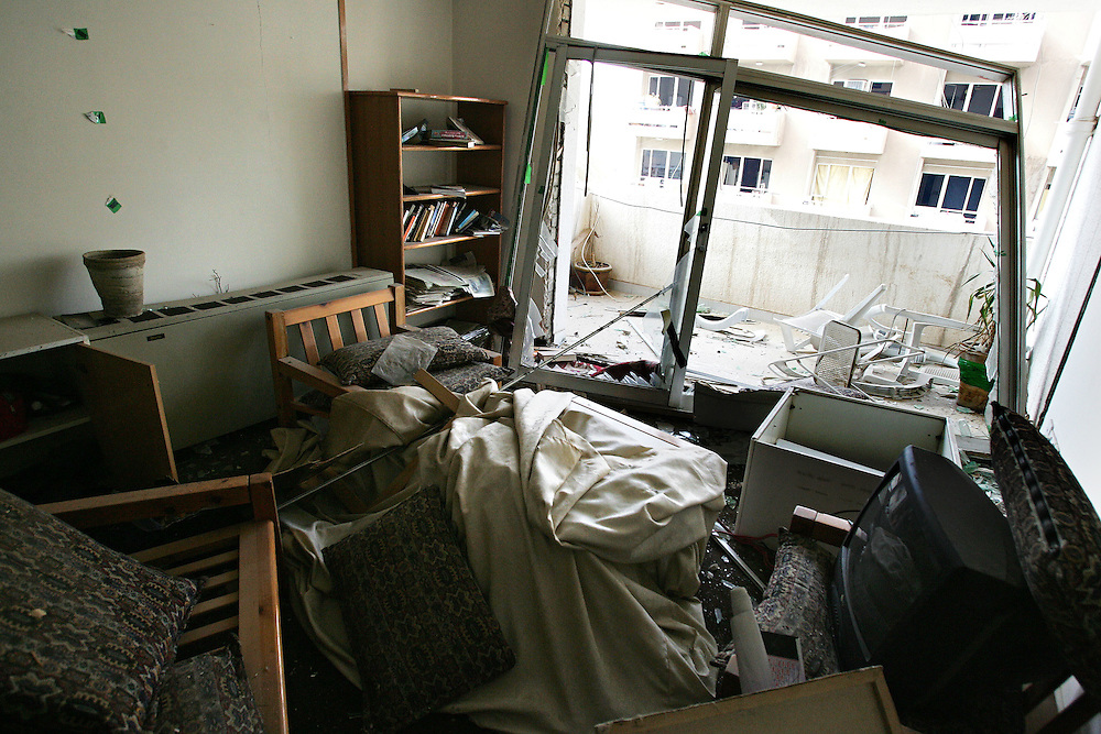 18th November 2005.Baghdad, Iraq.Bomb Damage..Rooms in the al-Hamra building 2 used by journalists were destroyed by a double suicide bomb attack on the 18th November 2005. Windows were shattered and doors blown off their hinges by the blast.