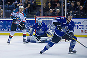 KELOWNA, CANADA - FEBRUARY 12:  Carsen Twarynski #18 of the Kelowna Rockets, Griffen Outhouse #30 of the Victoria Royals, Matthew Smith #9 of the Victoria Royals at the Kelowna Rockets game on February 12, 2018 at Prospera Place in Kelowna, British Columbia, Canada.  (Photo By Cindy Rogers/Nyasa Photography,  *** Local Caption ***