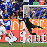 Goalkeeper Jan Jan Williams, Trinidad and Tobago, makes a save during the El Salvador Vs Trinidad and Tobago CONCACAF Gold Cup group B football match at Red Bull Arena, Harrison, New Jersey. USA. 8th July 2013. Photo Tim Clayton