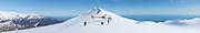 Snow landing above Franz Josef Glacier, Tasman Sea in the background