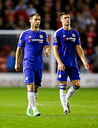 Branislav Ivanovic and Gary Cahill of Chelsea after they win the match 1-4 - Mandatory byline: Rogan Thomson/JMP - 07966 386802 - 23/09/2015 - FOOTBALL - Bescot Stadium - Walsall, England - Walsall v Chelsea - Capital One Cup.