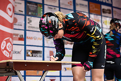 Mieke Kröger (CANYON//SRAM Racing) signs in at Dwars door de Westhoek 2016. A 127km road race starting and finishing in Boezinge, Belgium on 24th April 2016.