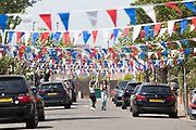 UNITED KINGDOM, London: 08 May 2020 <br /> A decorated street in South West London this afternoon in celebration of the 75th anniversary of Victory in Europe Day (VE Day). It celebrates when Winston Churchill announced Nazi Germany's unconditional surrender of it's armed forces marking the end of Work War II in Europe.