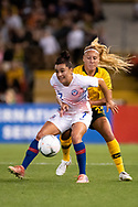 NEWCASTLE, NSW - NOVEMBER 13: Australian defender Gema Simon (22) and Chilean forward Maria Jose Rojas (7) fight for the ball at the international women's soccer match between Australia and Chile at McDonald Jones Stadium in NSW, Australia. (Photo by Speed Media/Icon Sportswire)