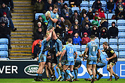 Wasps back row Ashley Johnson (6) wins a line out  during the Aviva Premiership match between Wasps and London Irish at the Ricoh Arena, Coventry, England on 4 March 2018. Picture by Dennis Goodwin.