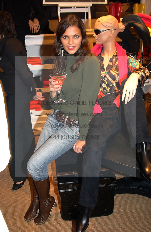 Actress ANYA LAHIRI at Polo Ralph Lauren's Pink Pony Party to launch it's Pink Pony Collection in aid of Cancer Research UK, held at their Fulham Road Store, London on 13th October 2004.<br />