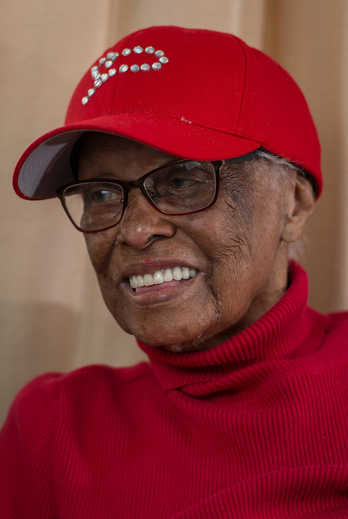 Pioneering pilot Azellia White,103, at her home in Sunnyside, February 24, 2017.