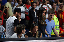 10.09.2014, Palacio de los deportes, Madrid, ESP, FIBA WM, Frankreich vs Spanien, Viertelfinale, im Bild Real Madrid´s Sergio Ramos and Iker Casillas with Sara Carbonero // during FIBA Basketball World Cup Spain 2014 Quarter-Final match between France and Spain at the Palacio de los deportes in Madrid, Spain on 2014/09/10. EXPA Pictures © 2014, PhotoCredit: EXPA/ Alterphotos/ Victor Blanco<br /> <br /> *****ATTENTION - OUT of ESP, SUI*****