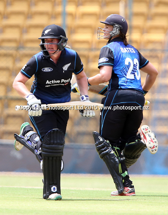 Rachel Priest and Suzie Bates running between the wickets during the 3rd ODI match against India at Chinnaswamy Stadium in Bangalore.