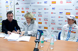 Primoz Ulaga signs a contract for sponsorship with Bojana Hrovatic of Akuro, at right Petra Majdic at press conference, on December 22, 2008, Ljubljana, Slovenia. (Photo by Vid Ponikvar / SportIda).