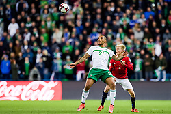 October 8, 2017 - Oslo, NORWAY - 171008  Josh Magennis of Northern Ireland and Birger Meling of Norway  during the FIFA World Cup Qualifier match between Norway and Northern Ireland on October 8, 2017 in Oslo..Photo: Vegard Wivestad Grøtt / BILDBYRÃ…N / kod VG / 170029 (Credit Image: © Vegard Wivestad GrØTt/Bildbyran via ZUMA Wire)