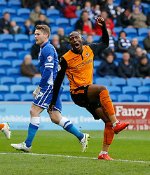 Benik Afobe of Wolverhampton Wanderers looks frustrated after his headed shot goes over the bar - Photo mandatory by-line: Rogan Thomson/JMP - 07966 386802 - 28/02/2015 - SPORT - FOOTBALL - Cardiff, Wales - Cardiff City Stadium - Cardiff City v Wolverhampton Wanderers - Sky Bet Championship.