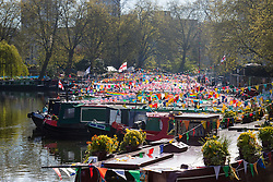Little Venice, London, May 1 2016. Bright sunshine greets narrow boaters at the Inland Waterways Association's annual Canalway Cavalcade, a get-together of narrow boaters from all over the UK, on the May Day bank holiday. &copy;Paul Davey<br /> FOR LICENCING CONTACT: Paul Davey +44 (0) 7966 016 296 paul@pauldaveycreative.co.uk