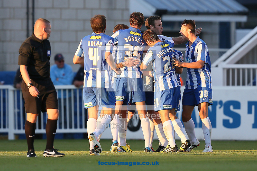 Picture by Paul Gaythorpe/Focus Images Ltd +447771 871632<br /> 03/09/2013<br /> Hartlepool United players celebrate Luke James scoring the opening goal against Bradford City during the Johnstone's Paint Trophy match at Victoria Park, Hartlepool.