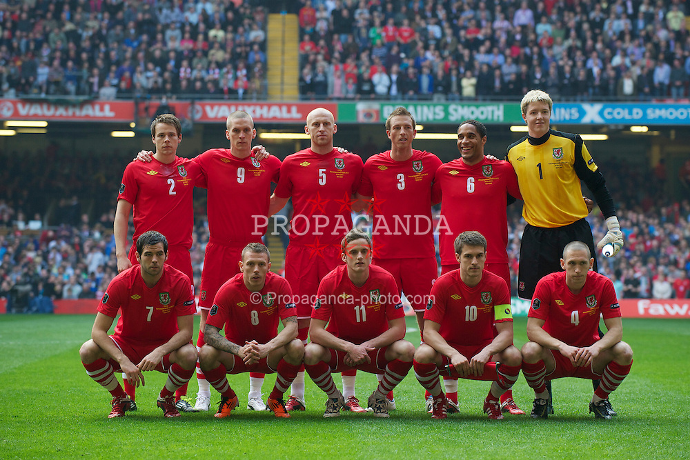 CARDIFF, WALES - Saturday, March 26, 2011: Wales' players line-up for a team-group photograph before the UEFA Euro 2012 qualifying Group G match against England at the Millennium Stadium. Back row L-R: Chris Gunter, Steve Morison, James Collins, Danny Collins, Ashley Williams, goalkeeper Wayne Hennessey. Front row L-R: Joe Ledley, Craig Bellamy, Andy King, captain Aaron Ramsey, Andrew Crofts. (Photo by David Rawcliffe/Propaganda)