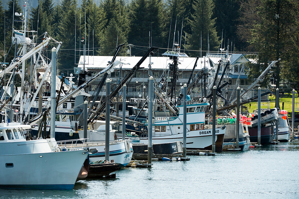 Fishing boats in the Petersburg, Alaska harbor.