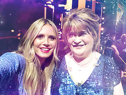 """Heidi Klum releases a photo on Twitter with the following caption: """"""""I was SO excited when I found out that @susanboylemusic was going to be on #AGTChampions!!! I am a huge fan 😊 Can't wait for you to see what else we have planned for you all this season! The fun is just beginning on @AGT"""""""". Photo Credit: Twitter *** No USA Distribution *** For Editorial Use Only *** Not to be Published in Books or Photo Books ***  Please note: Fees charged by the agency are for the agency's services only, and do not, nor are they intended to, convey to the user any ownership of Copyright or License in the material. The agency does not claim any ownership including but not limited to Copyright or License in the attached material. By publishing this material you expressly agree to indemnify and to hold the agency and its directors, shareholders and employees harmless from any loss, claims, damages, demands, expenses (including legal fees), or any causes of action or allegation against the agency arising out of or connected in any way with publication of the material."""