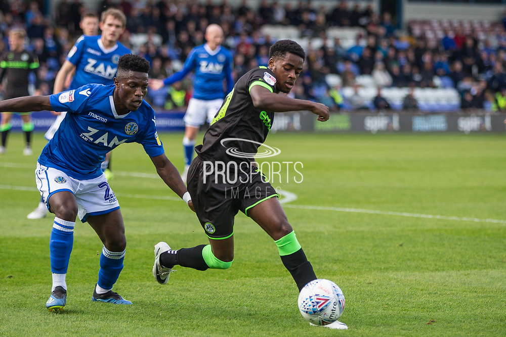 Forest Green Rovers Reece Brown(10) on the ball during the EFL Sky Bet League 2 match between Macclesfield Town and Forest Green Rovers at Moss Rose, Macclesfield, United Kingdom on 29 September 2018.